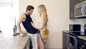 Sexually compulsive housewife Alexa Grace seduces handsome young plumber