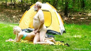 Amazing blonde camping girl Lovita Fate rides dick of gaffer outdoors