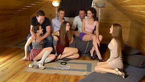 Ruth Folwer & Izi Ashley & Sabrina M & Eva Shanti in hot student girls share big dicks between them
