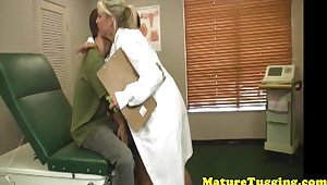 Milf doctor and bigtitted cougar jerk in trio