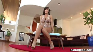 Cute pornstar Lisa Ann penetrates her asshole using horse's tail