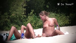 Girls with widely stretched legs nude on nudist beach video