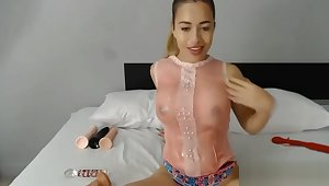 Hot Puerto Rican Cam Chic Sucks On A Big Dong With Nasty Guck All Over Her F