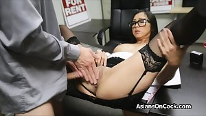 Asian cutie does many a time of extra on project interview