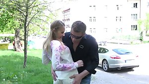 Dude fucks mouth, pussy and anus of pretty Russian teen on the crafty date