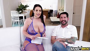 WOW bitch in fishnets Angela White gets their way anus rimmed and fucked
