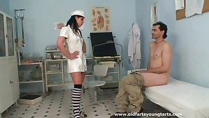 Sexy nurse Lucie V does what ever is needed to make him cum
